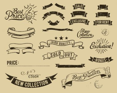 Vintage sale icons set