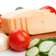 Cheese and fresh vegetables — Stock Photo