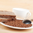 Stock Photo: Buckwheat and rye bread on plate