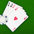 Four aces and poker chips — Stock Photo #6821639