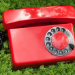 Red old telephone — Stock Photo