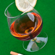 Cognac with lemon — Stock Photo