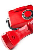 Old and red telephone — Stock Photo