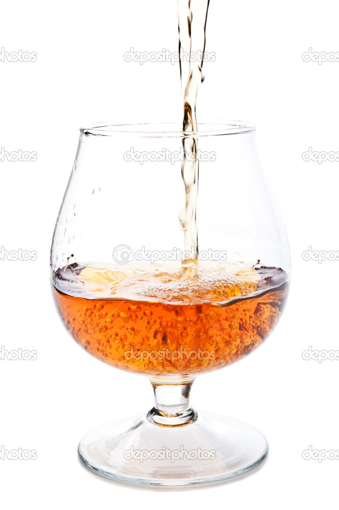 Cognac in a classic glass isolated on a white background — Stock Photo #6836046
