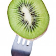 Stock Photo: Kiwi on fork