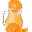 Fresh orange fruit and juice — Stock Photo