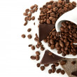 Coffee beans and chocolate — Stock Photo