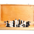 Stock Photo: Chess set in old wooden box