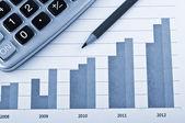 Finance diagram and calculator — Stock Photo