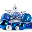 Composition of the blue christmas balls and star — Stock Photo