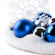 Royalty-Free Stock Photo: Blue christmas balls and snowflake