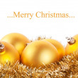Yellow christmas balls — Stock Photo