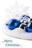 Blue christmas balls and snowflake — Stock Photo