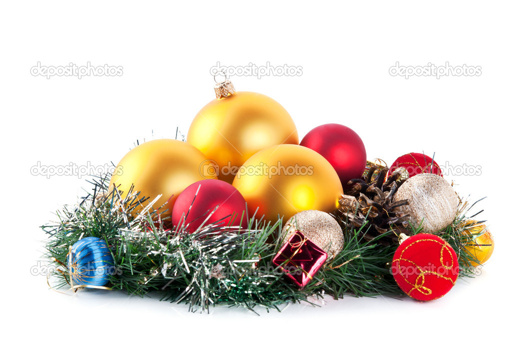 Composition of the christmas balls isolated on a white background  Stock Photo #7620162
