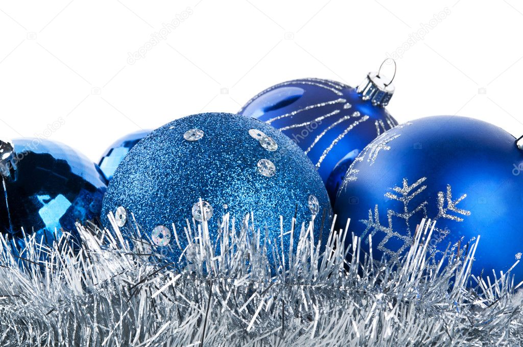 Blue christmas balls isolated on a white background — Stock Photo #7620616