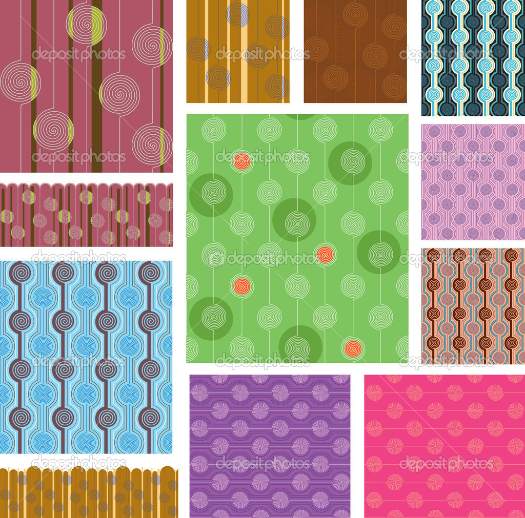 Options for square and rectangular seamless pattern. Drawing on curl. Border — Stock Vector #6868628