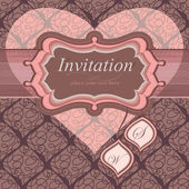 Vintage frame for an invitation to a seamless background. Wedding theme. He — Stock Vector