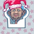 Portrait of a man in a hat jester. Christmas joke — Imagen vectorial