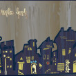 City does not sleep at night. Rain - Imagen vectorial
