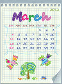 Calendar for March 2012. The week starts with Sunday. Illustration of sprin — Stock Vector