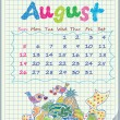 Calendar for August 2012. The week starts with Sunday. Illustration of the — Stock Vector