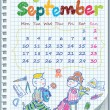 Calendar for August 2012. Week starts on Monday. Illustration of the school — Stock vektor