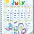 Calendar for July 2012. Week starts on Monday. Illustration of the summer. — Stock Vector