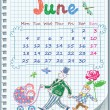 Calendar for June 2012. Week starts on Monday. — Stock Vector