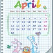 Calendar for April 2012. Week starts on Monday.Illustration of Easte. — Stock Vector