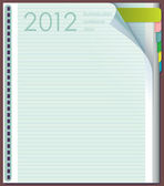 Diary entries. Page to the lineup. Top right corner bent. Number 2012 — Stock Vector