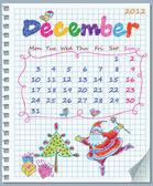 Calendar for December 2012. Week starts on Monday. Illustration of Christma — Stock Vector