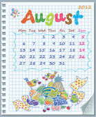 Calendar for August 2012. Week starts on Monday. Illustration of fruit yie — Stock Vector