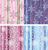 Seamless background of vertical stripes, snowflakes and dots. Variations in — Stock Vector