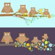 Royalty-Free Stock Vector Image: Family of owls sitting on a branch