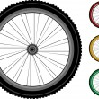 Bicycle wheels. series detailed wheels of the vehicles isolated on white — Stock Vector #6768352