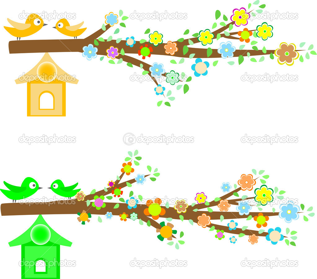 Branch of a tree with flowers isolated on white background — Stock Vector #6761238