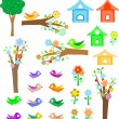 Set birds with birdhouses, trees and flowers - Stock Vector