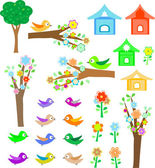 Set birds with birdhouses, trees and flowers — Stock Vector