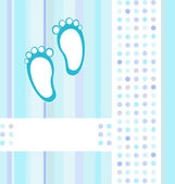 Baby boy announcement blue card background wallpaper. vector illustration — Stock Vector