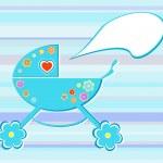 Perambulator card for baby-shower design — Stock Vector