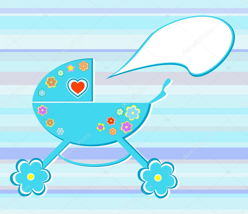 Perambulator card for baby-shower design element — Векторная иллюстрация #6850508