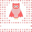 Stock Vector: Cute owl card. Baby girl arrival announcement card