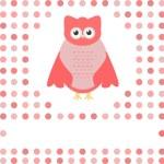 Cute owl card. Baby girl arrival announcement card — Stock Vector