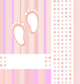 Baby girl announcement card background — Vettoriale Stock