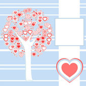 Stylized love tree made of red hearts background — Stock Vector
