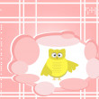 Owl cute Cartoon bird greeting card — Imagen vectorial