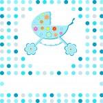 New baby boy perambulator announcement card — Stock Vector