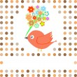 Bird with flowers card background — Stockvektor