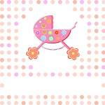 Baby girl Shower Announcement perambulator — Stock Vector