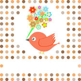 Bird with flowers card background — Stock Vector